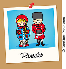 Russia travel polaroid people - Russian man and woman...