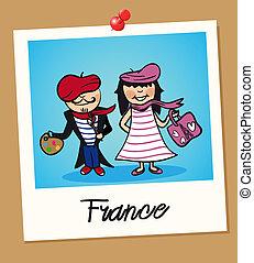 France travel polaroid people