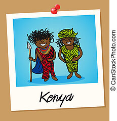 Kenya travel polaroid people - Kenyan man and woman cartoon...