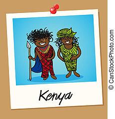 Kenya travel polaroid people - Kenyan man and woman cartoon...