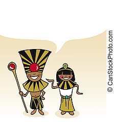 Egyptian cartoon couple bubble dialogue