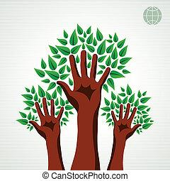 verde, Conjunto, árbol, Manos