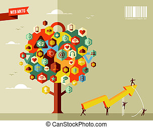 Marketing business tree - Marketing teamwork business rising...