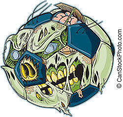 Zombie Soccer Ball Vector Cartoon - A Zombie Soccer Ball...