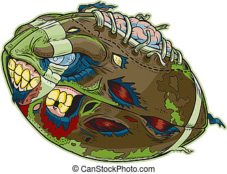 Zombie Football Vector Cartoon - A Zombie Football Vector...