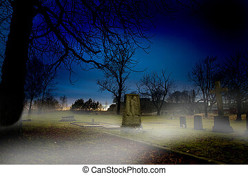 Graveyard - A spooky graveyard at sundown with mist