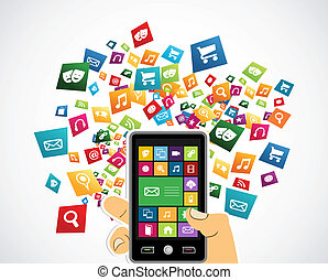 Smartphone mobile applications - Random apps icon set...