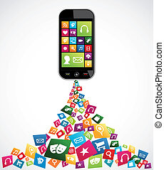 Mobile computer applications - Smartphone download apps icon...