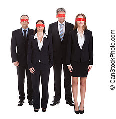 Group Of Business Peoples Eyes Covered With Ribbon -...