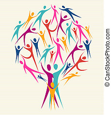 Diversity human colors tree set - Family human shapes...