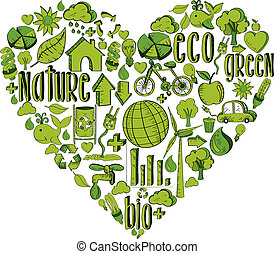 Green heart with environmental icons - Trendy heart with...