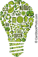 Green light bulb with environmental icons