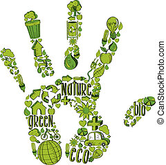 Green hand with environmental icons