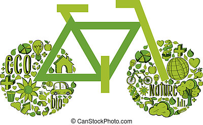 Green Bicycle with environmental icons - bicycle with...