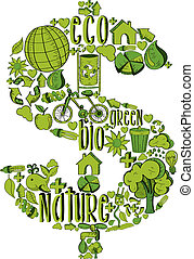 Green Rich symbol with environmental icons