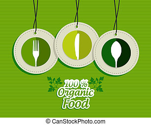 Hanging green silverware sign icons labels set - Green...