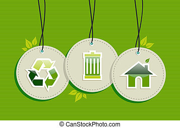 Hanging Green Environment sign icons labels set - Ecologic...