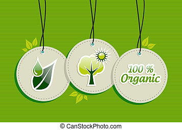 Hanging green tree sun icons set - Green biology design...