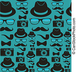 Indie hipsters seamless pattern - Vintage hipster style...