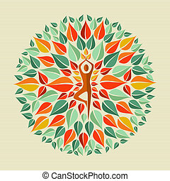 India yoga mandala - Leaves circle human shape mandala...