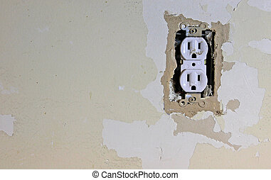 Dirty Electrical Outlet - A dirty electrical outlet exposed...