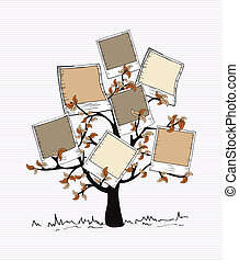 Vintage colors instant photo tree - Brown instant photo leaf...