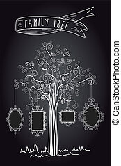 Vintage frames tree - Trendy black and white old school leaf...