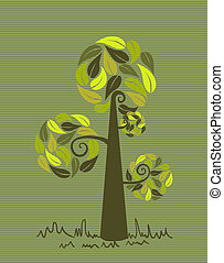 Vintage colors leaves tree set - Green branches leaf tree...