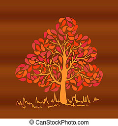 Vintage colors leaves tree - Colorful autumn colors leaf...