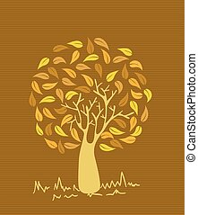 Vintage colors leaves tree - Gold branches leaf tree stripes...