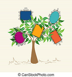 Vintage frames tree - Trendy colorful old school leaf tree...