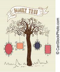 Vintage frames tree concept - Colorful old school leaf tree...