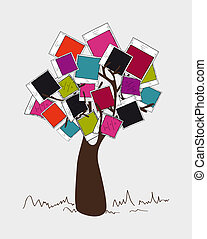 Vintage colors instant photo tree - Colorful instant photo...