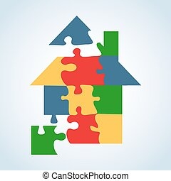 Real estate icon set jigaw shape - Real estate icon jigsaw...