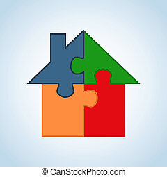 Real estate icon set house - Jigsaw home silhouette set in...