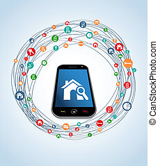 Real estate icon set mobile - Real estate icon set around...