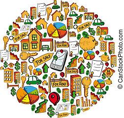 Real estate icon set globe