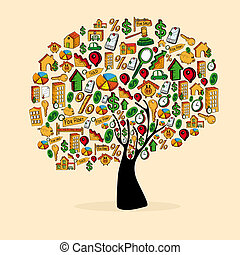 Real estate icon set tree - Real estate icon tree set in...