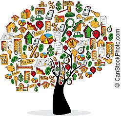 Real estate icon set tree