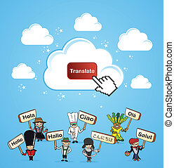 Cloud computing translate concept - Mobile devices internet...