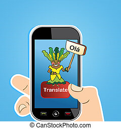 Smart phone translate concept - Hand with mobile device:...