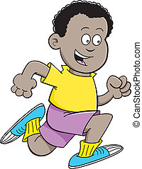 Cartoon African boy running - Cartoon illustration of an...