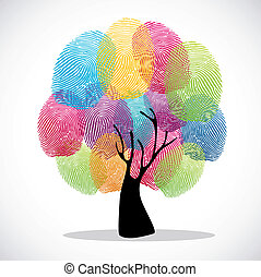 Finger prints diversity tree - Diversity color tree finger...
