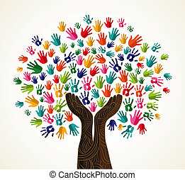 coloré, solidarité, conception, arbre