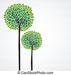 Cute concept trees design - Trendy isolated green trees...