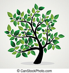 Concept leaves tree - Green leaf eco friendly tree design...