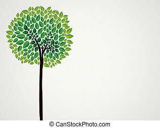 Trendy concept tree design - Cute isolated green tree hand...