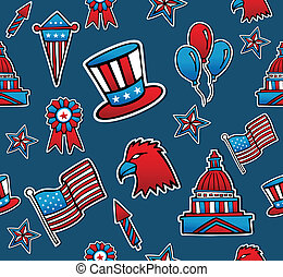 USA seamless pattern background - Patriotic hand drawn USA...