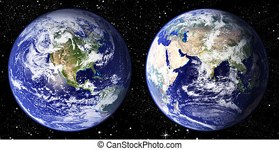 Globe - The world seen from the west and east hemisphere set...