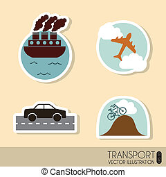 transport icons - transports icons over cream background...